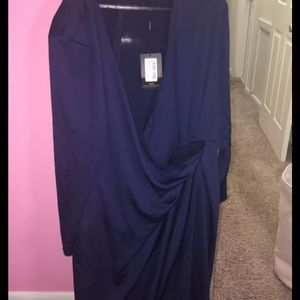 Pretty Little Thing Navy blue crossover dress